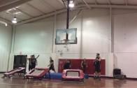 Liberty University dunk team breaks backboard on trick dunk