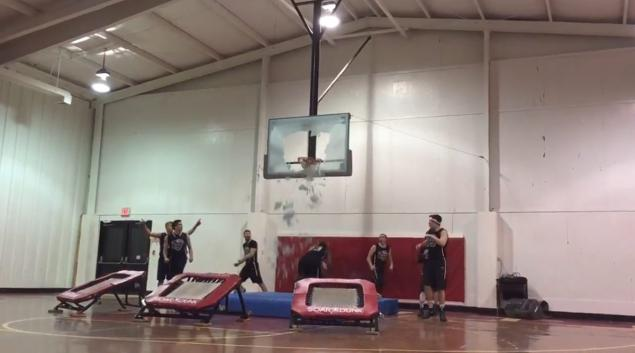 Liberty University dunk team breaks backboard on trick dunk