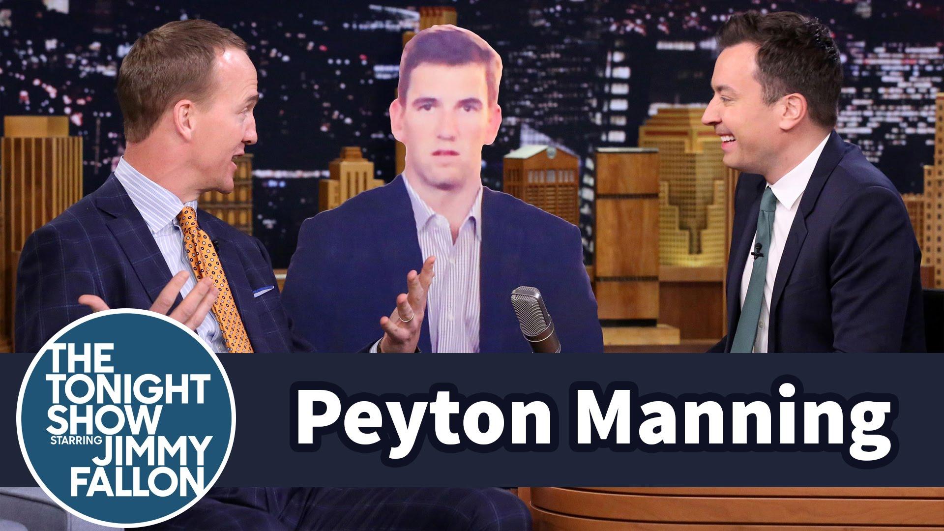 Peyton Manning talks to Eli Manning's Super Bowl sad face