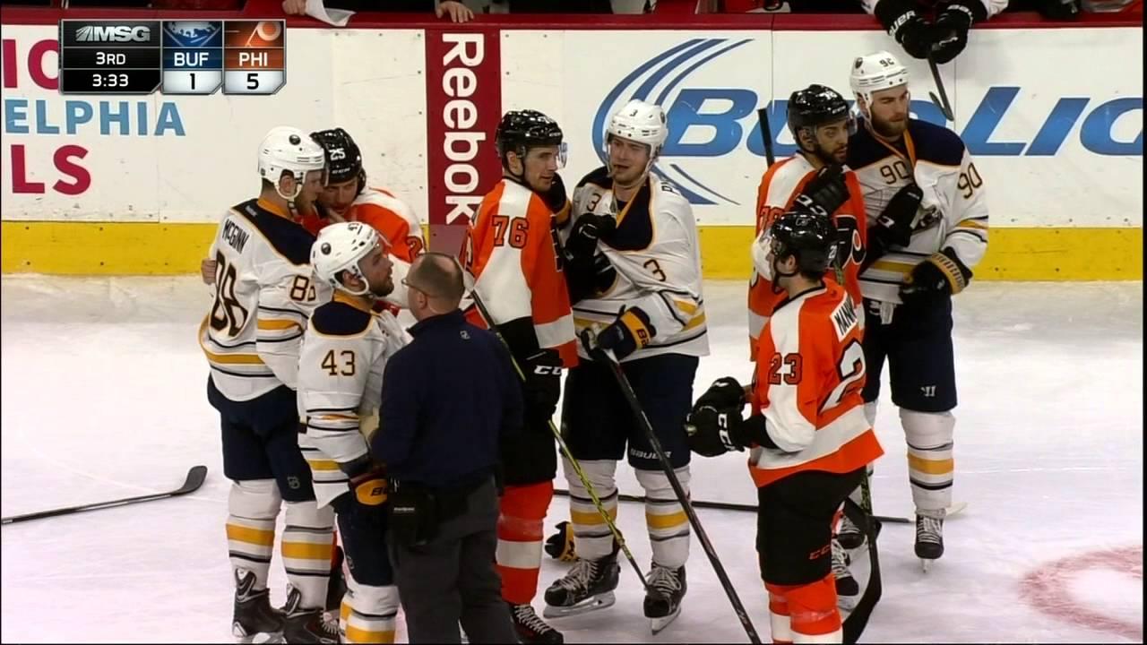 Philadelphia Flyers' Radko Gudas with a brutal head shot hit on Catenacci