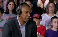 "Raptors GM Masai Ujiri plays ""lets make a trade"" with the Starters"