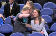 Savage: Basketball fan pump fakes a hug with his girlfriend
