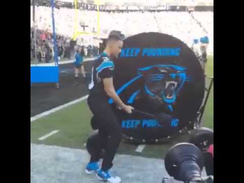 Stephen Curry pounds the Panthers drum