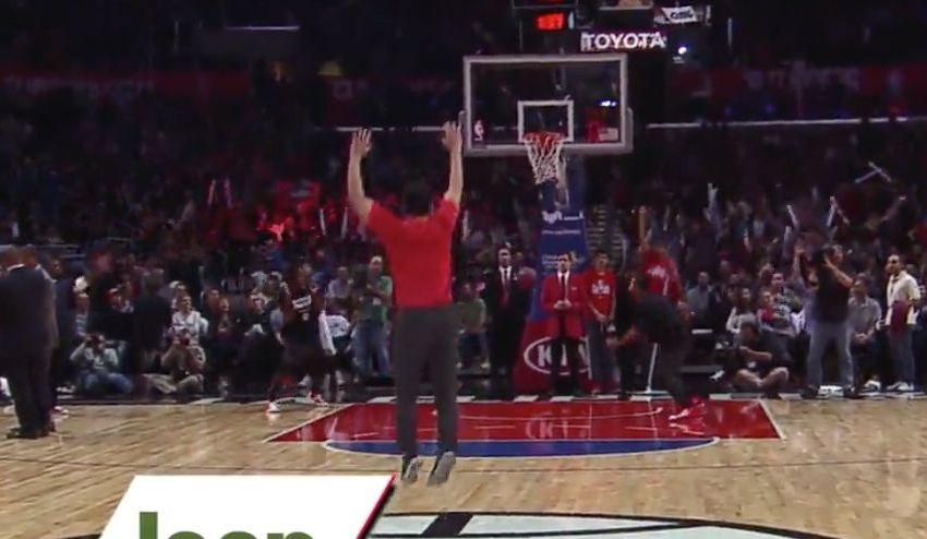 Clippers fan wins a jeep by hitting half court shot