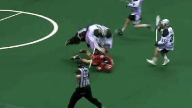 Lacrosse goaltender with an absolutely crushing hit