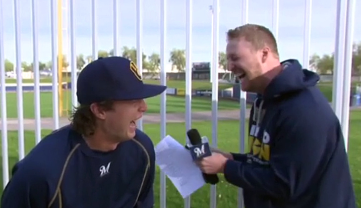 Brewers' Brett Phillips can't control his laughter with Cliff Floyd
