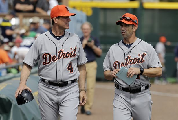 Jim Harbaugh joins the Detroit Tigers coaching staff for the day
