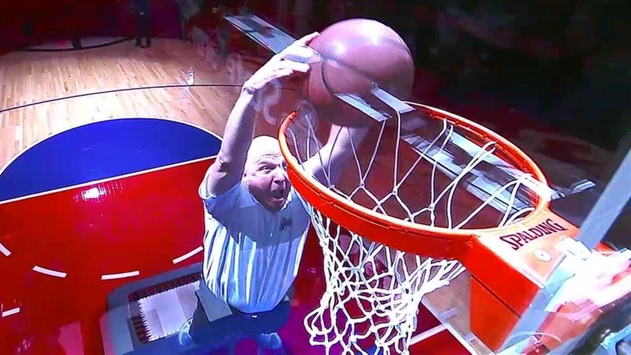 Clippers owner Steve Ballmer dunks ball off trampoline