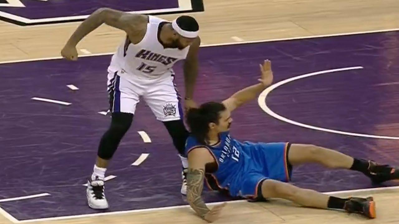 DeMarcus Cousins almost punches Steven Adams
