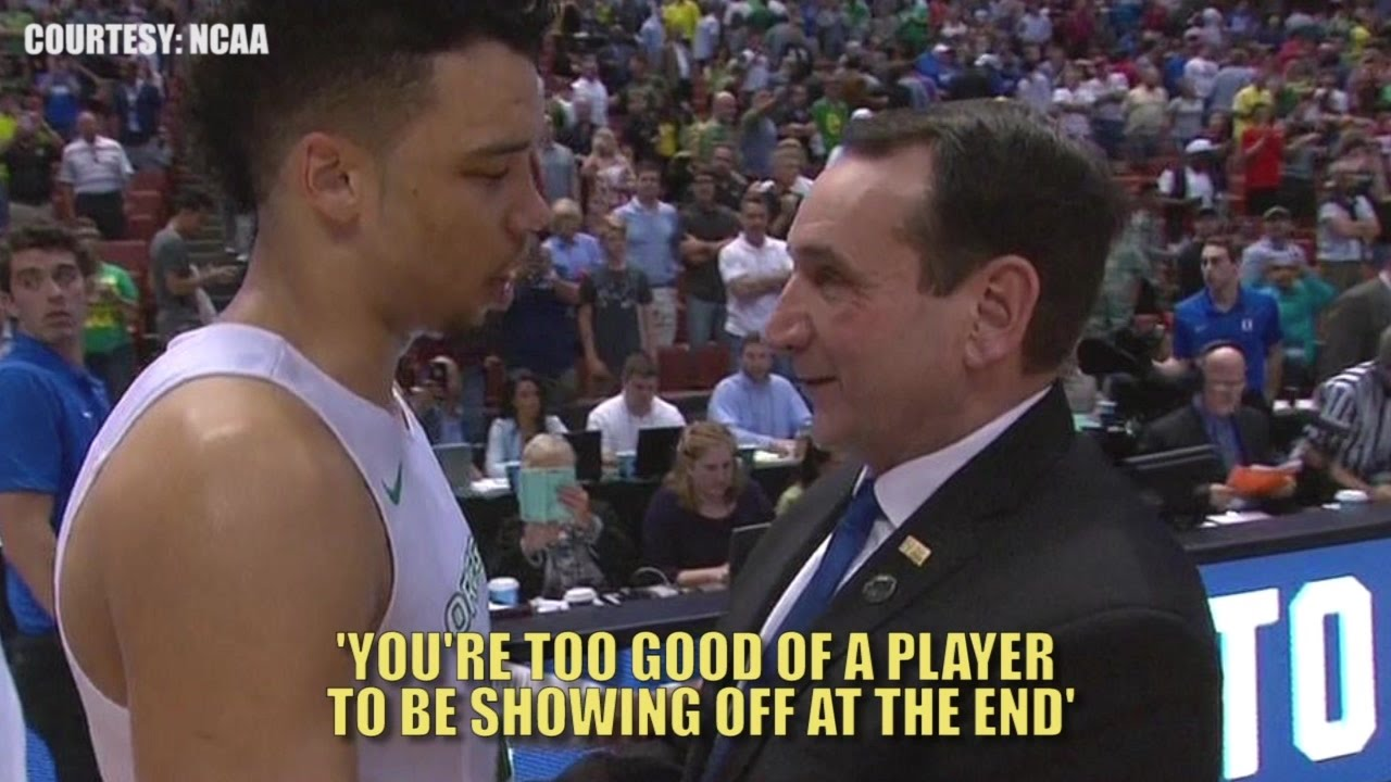 Did Coach K lecture Oregon's Dillon Brooks after beating Duke?