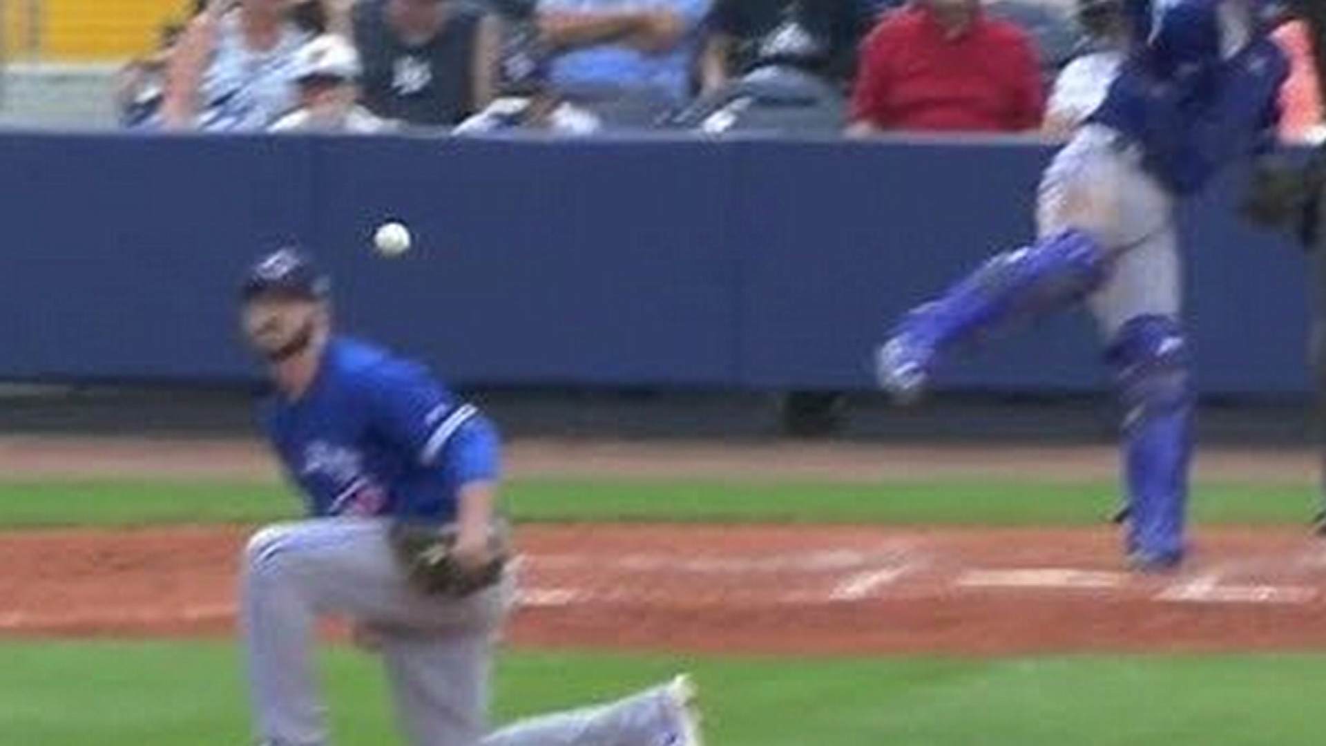 Drew Hutchinson gets drilled in the head by his own catcher