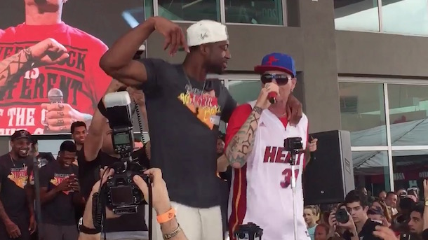 Dwyane Wade dances with Vanilla Ice during