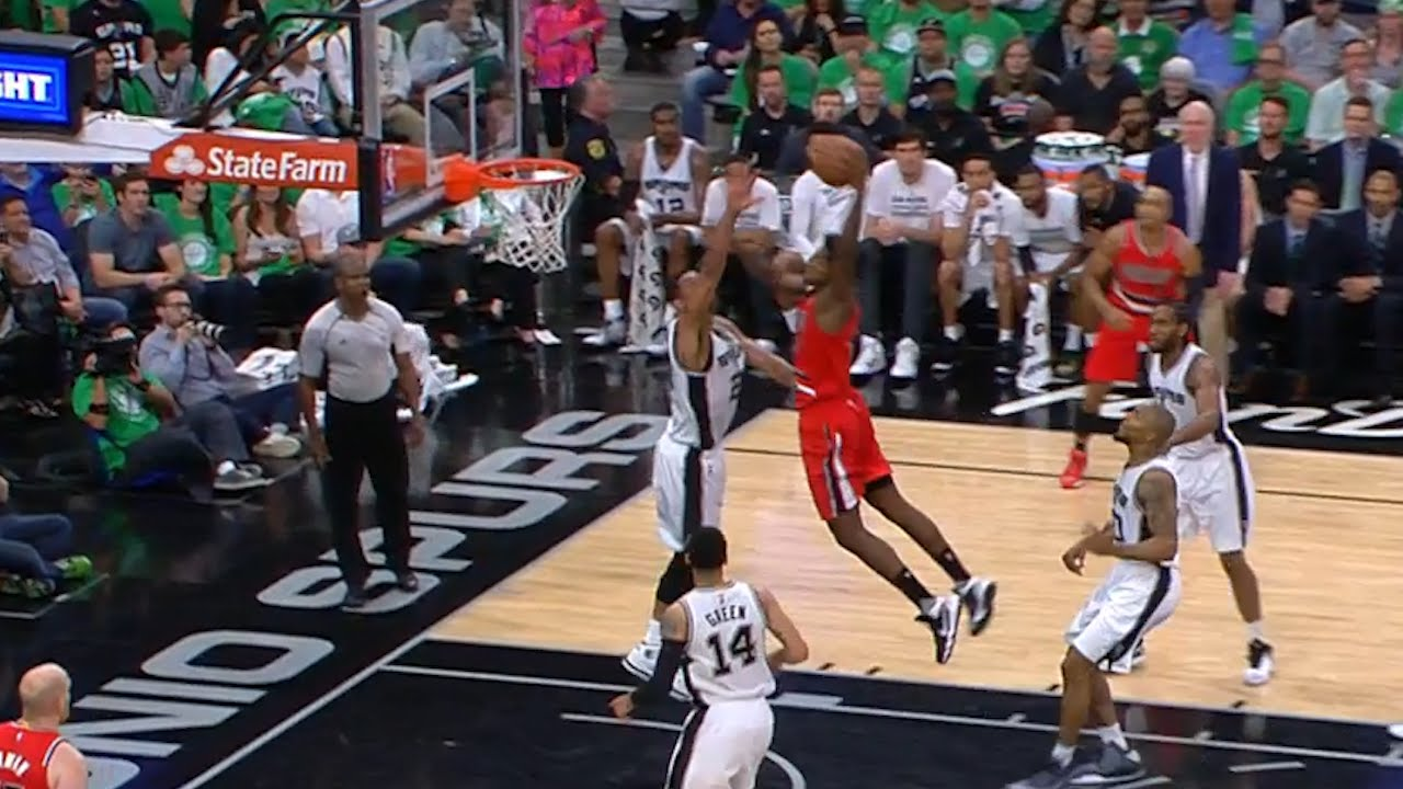 Ed Davis gets stuffed by the rim on dunk attempt