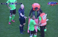 How not to carry a stretcher off of a soccer field