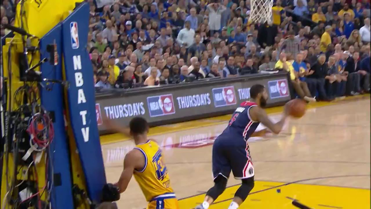 John Wall chases down Stephen Curry for the swat