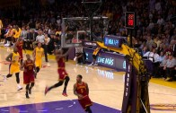 JR Smith throws the back board alley-oop to LeBron James