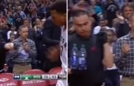 Kyle Lowry rips water bottle from water boy