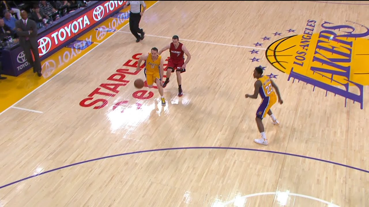 Lakers guard Marcelo Huertas hides behind Erik Spoelstra for steal