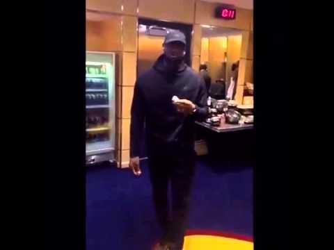 LeBron James mocks the media while eating a banana