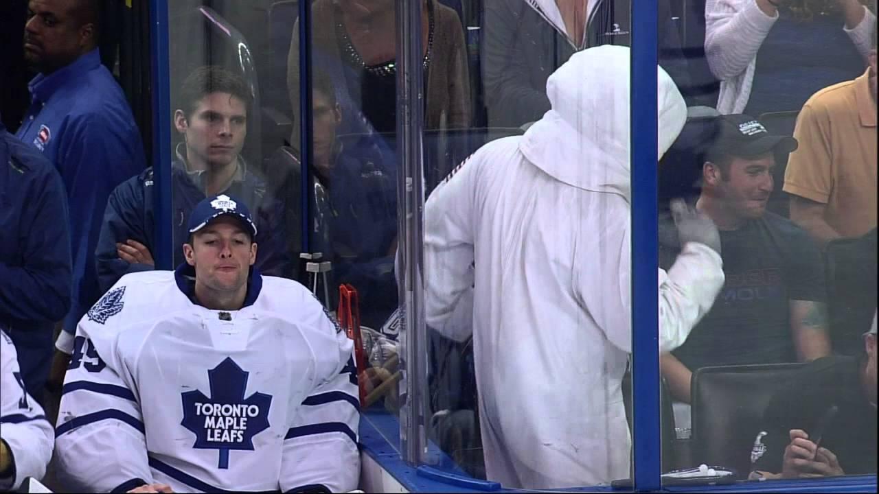 Maple Leafs goalie Jonathan Bernier accidentally spits on ice skater