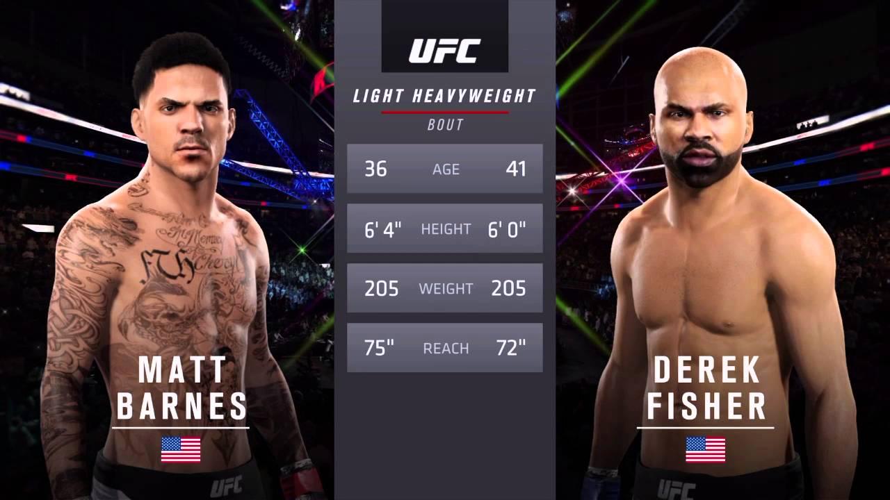 Matt Barnes vs. Derek Fisher simulated match in 'UFC 2' video game