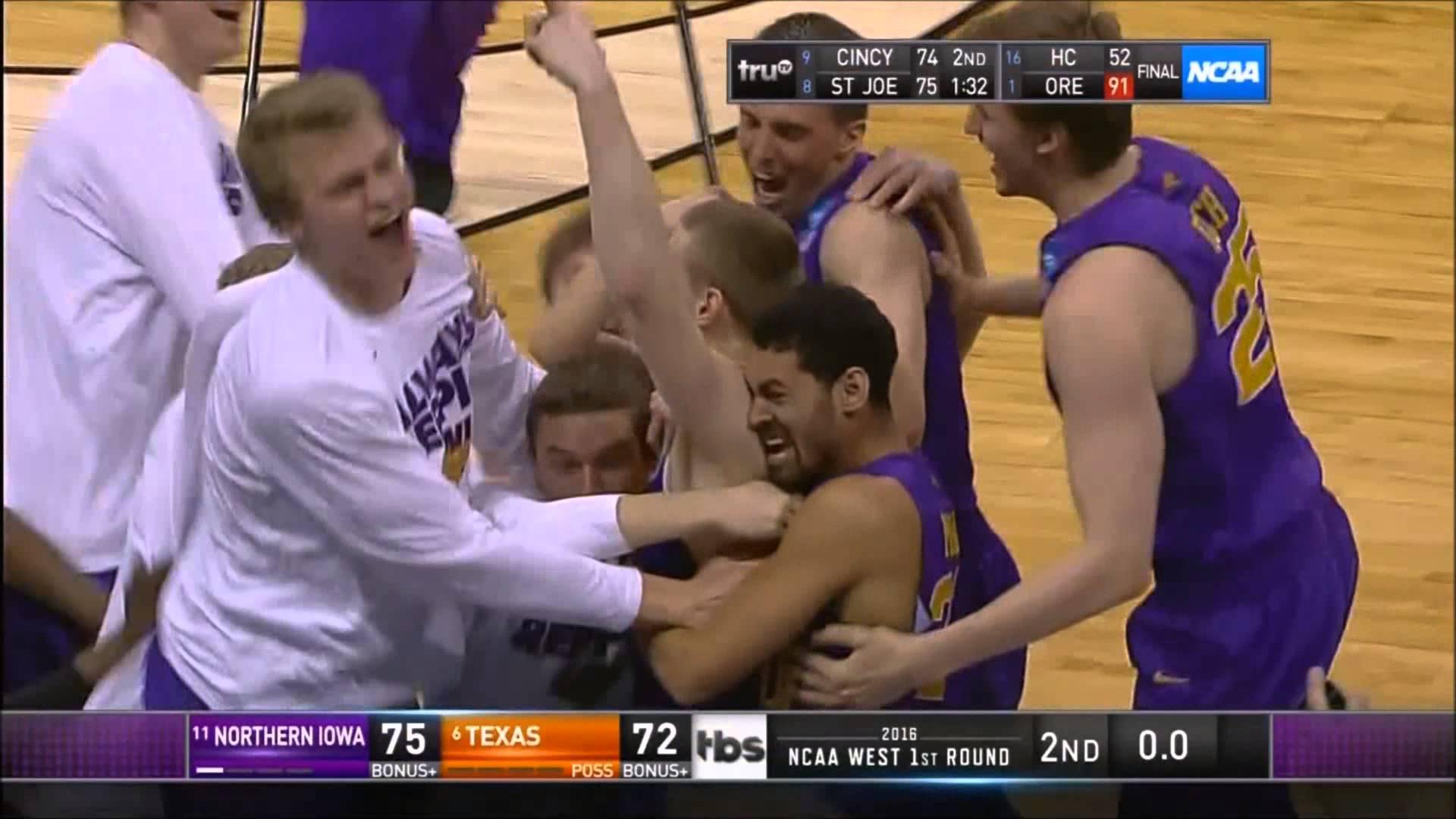 Northern Iowa hits half court buzzer beater to beat Texas