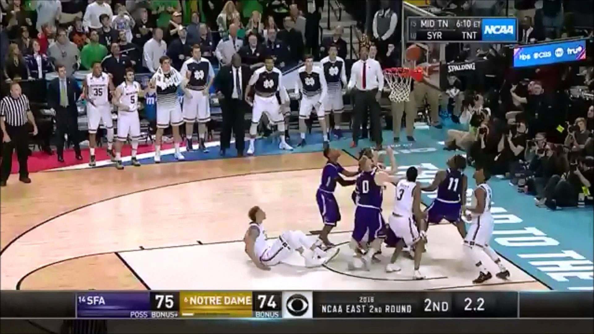 Notre Dame beats Stephen F. Austin on last second tip in