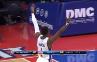 Reggie Jackson emphatically celebrates the Pistons win over OKC