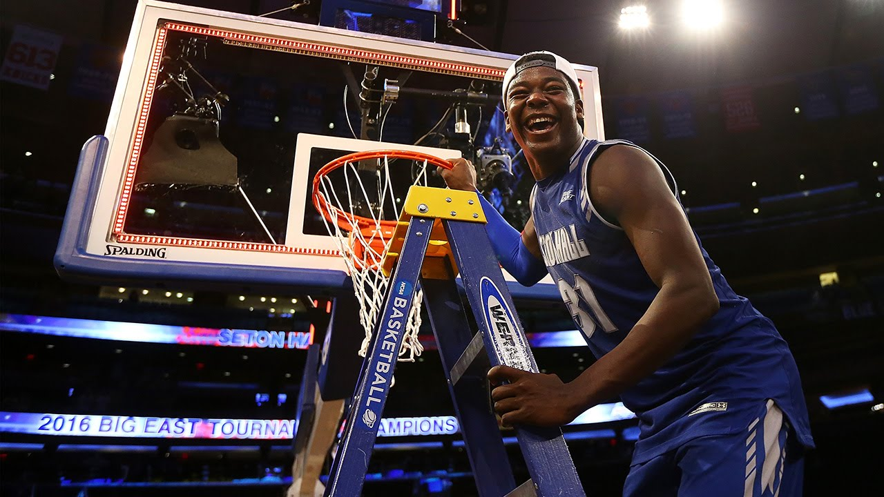 Seton Hall cuts down the net after winning Big East Tournament