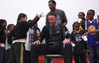 Stephen Curry gets cold water dumped on him by Oakland students