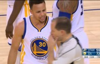 Stephen Curry gets T'd up for block foul call