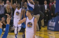 Stephen Curry hits deep 3-pointer with the clock winding down