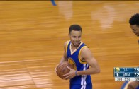 Stephen Curry hits deep floater from distance after the whistle