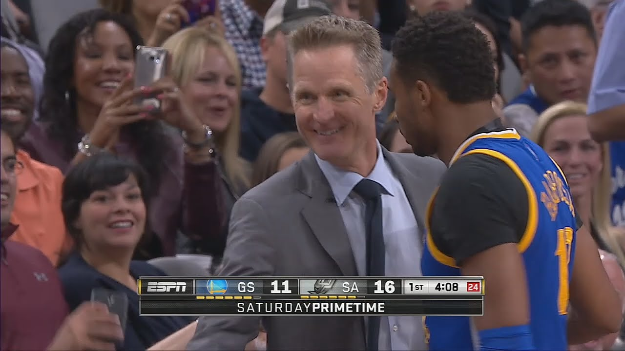 Steve Kerr hit with technical foul & losses it on the refs