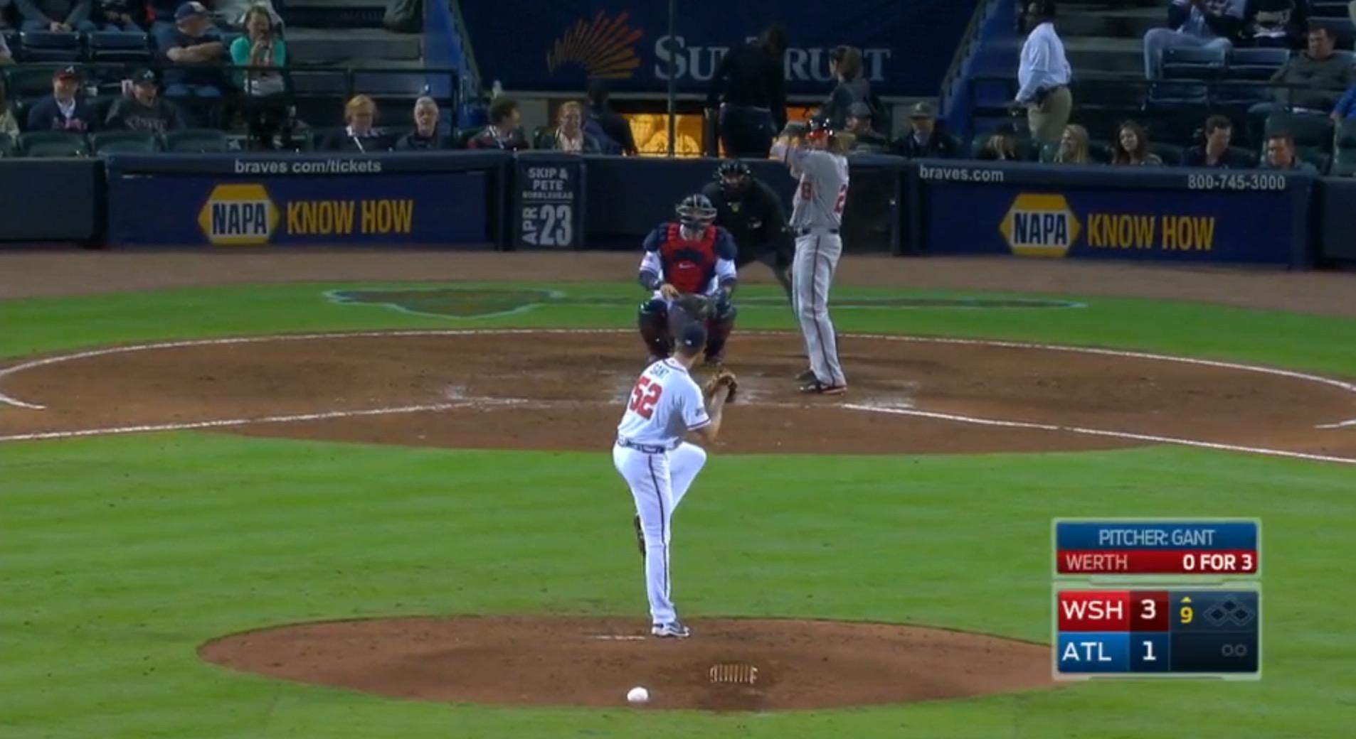 Strange wind up from Braves pitcher John Gant
