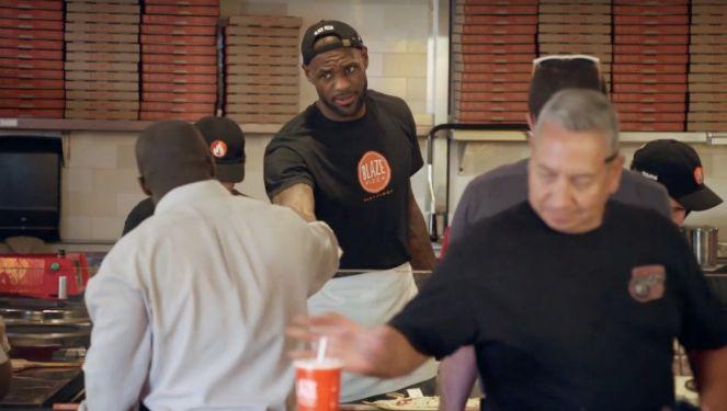 LeBron James surprises people as Blaze pizza's new server
