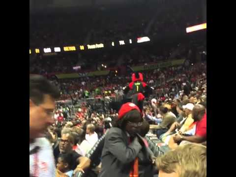 Atlanta Hawks mascot destroys his balls after falling onto a rail