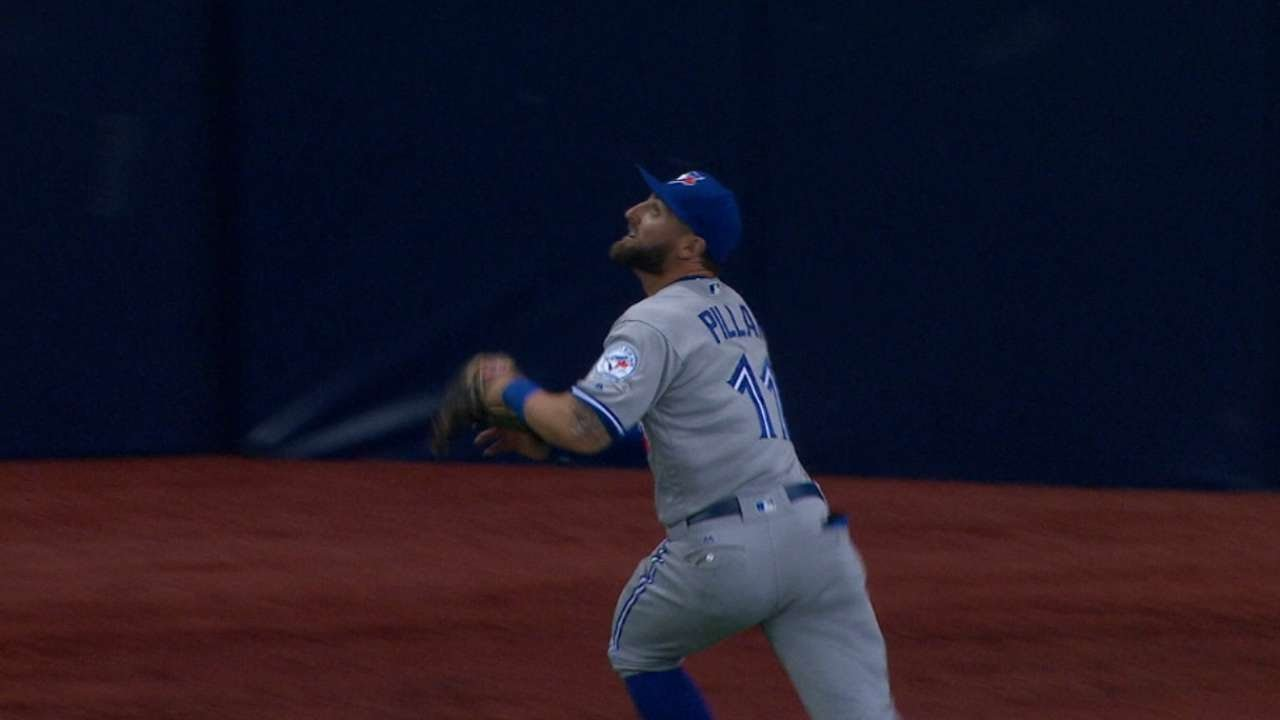 Back At It: Kevin Pillar makes the diving grab & puts his neck on the line