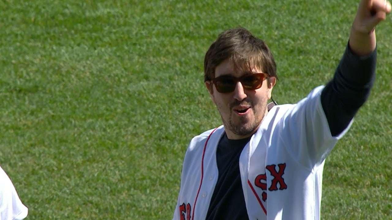 Boston Marathon survivor & Jake Gyllenhaal throw out first pitch in Boston