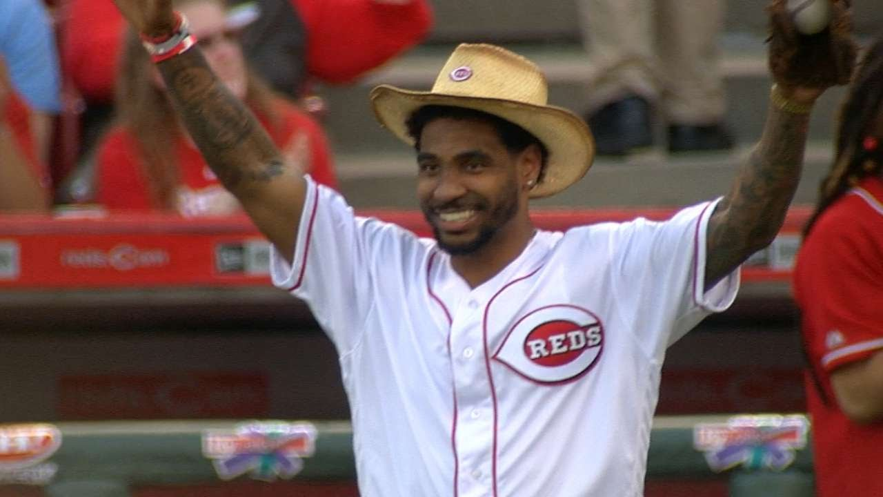 Braxton Miller talks NFL draft & throws out the first pitch for the Reds