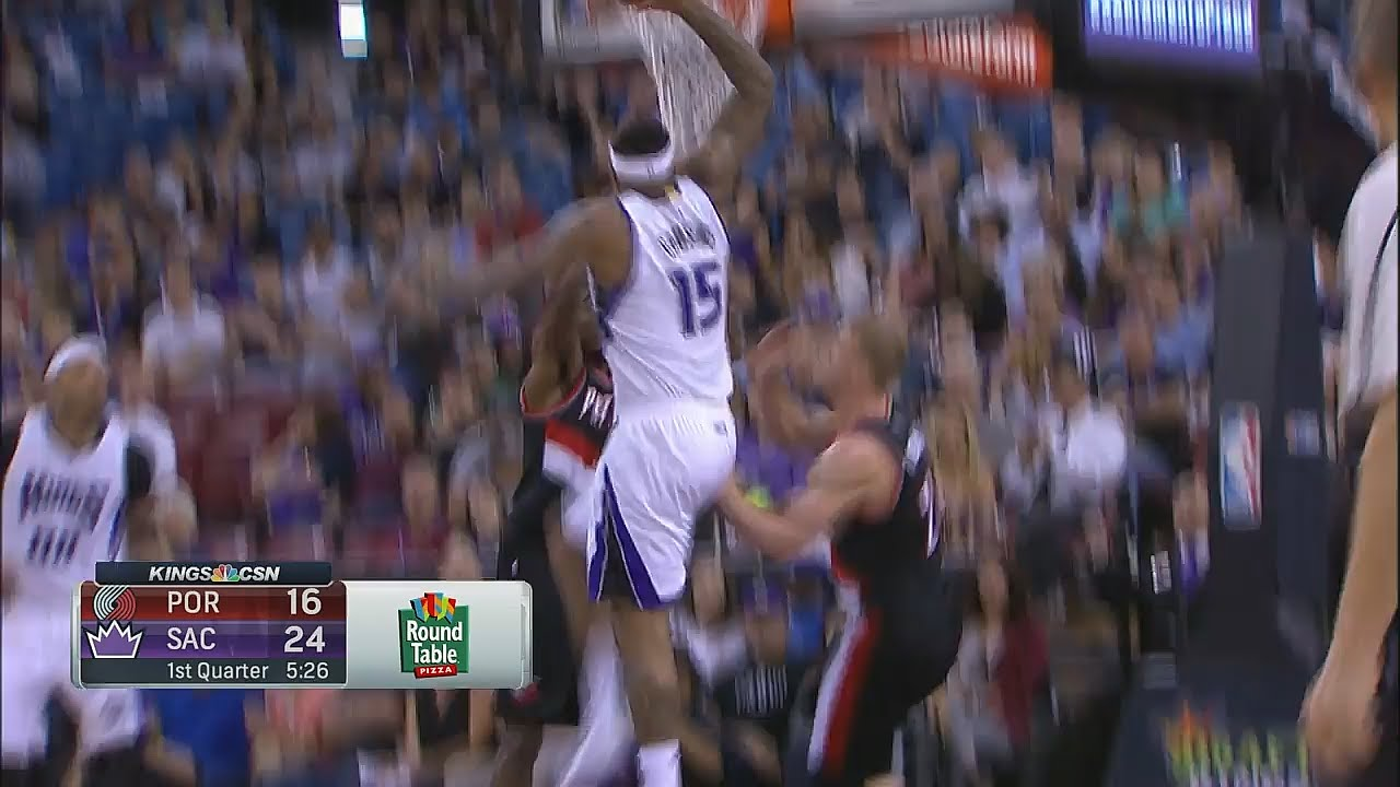 DeMarcus Cousins dunks on two Trail Blazers
