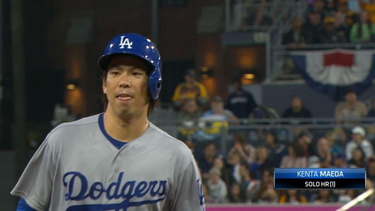 Dodgers pitcher Kenta Maeda goes yard in MLB debut