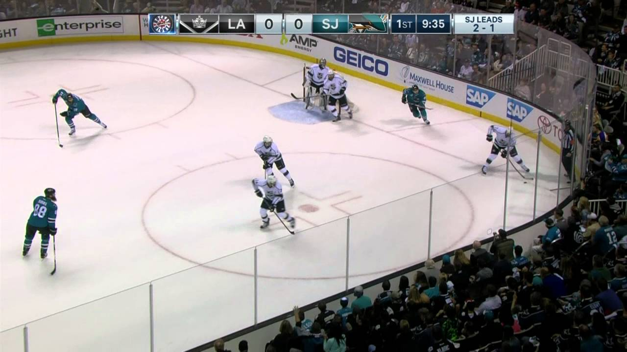 Drew Doughty bats puck out of mid-air to prevent a goal