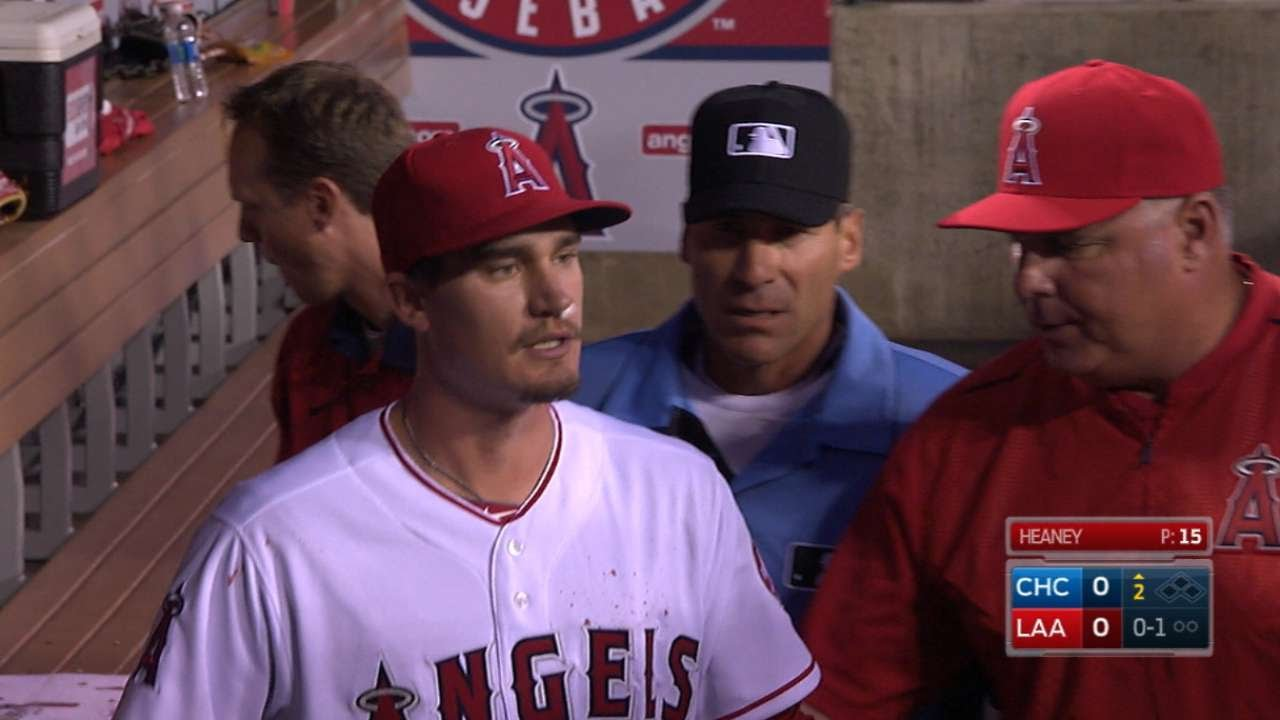 Game stops after Angels pitcher Andrew Heaney gets a bloody nose