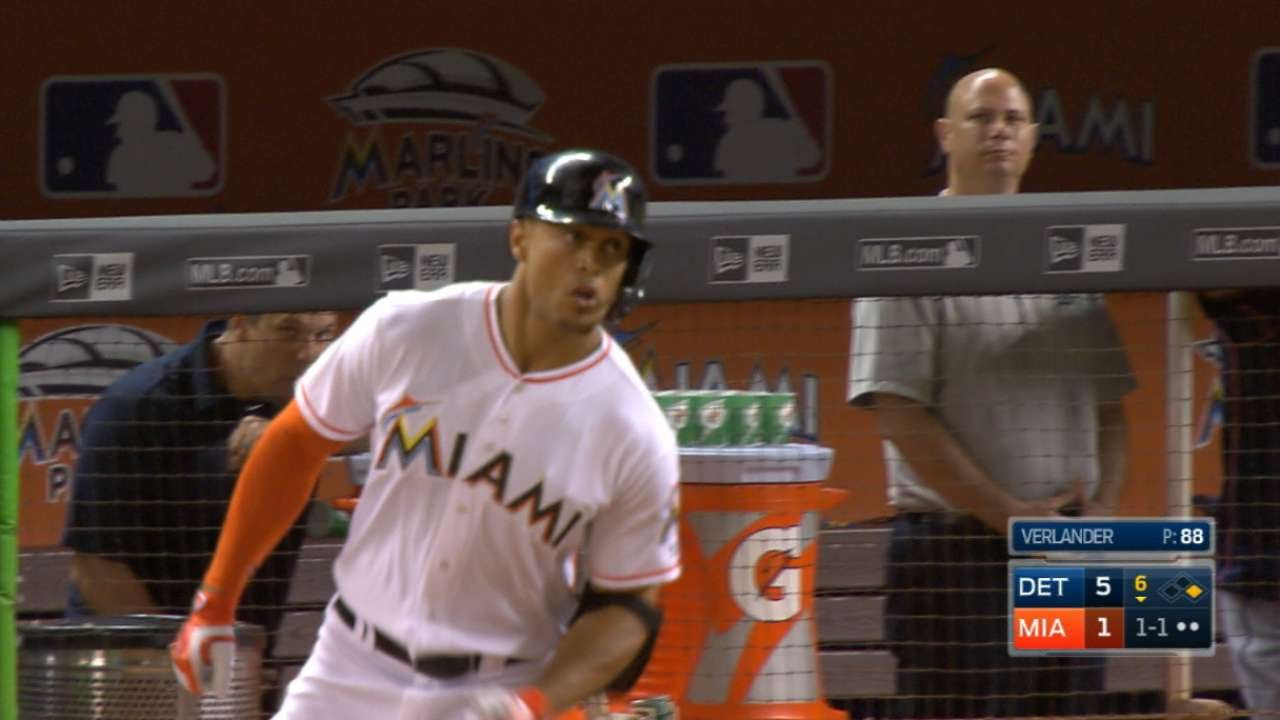 Giancarlo Stanton blasts his first homer of the year
