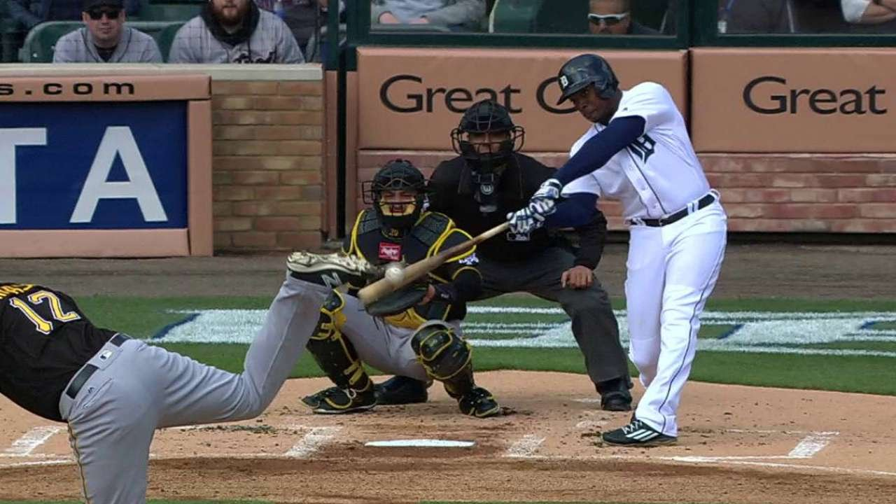Justin Upton destroys his first homer into center field camera well