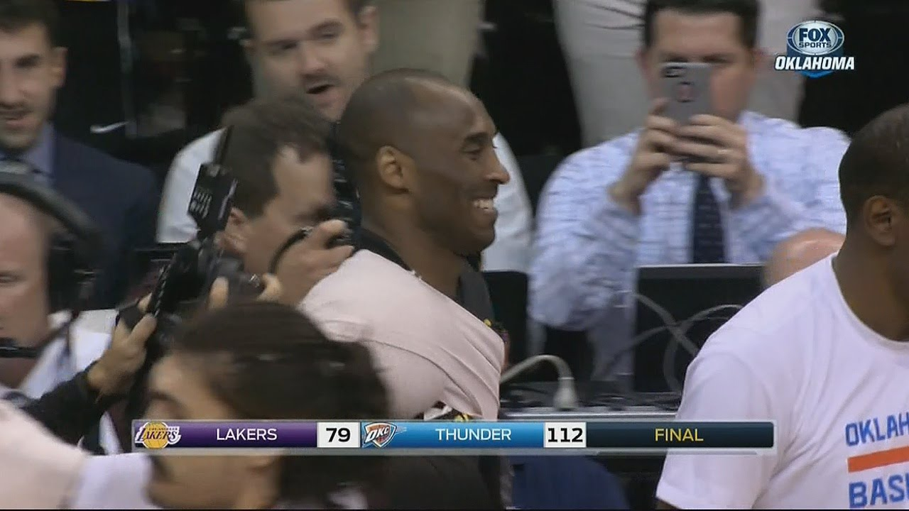 Kevin Durant & Russell Westbrook embrace Kobe Bryant