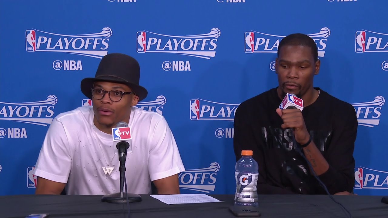 Kevin Durant & Russell Westbrook speak on blowing out the Mavs in Game 1