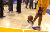 Kobe Bryant show off his soccer skills by playing keep ups