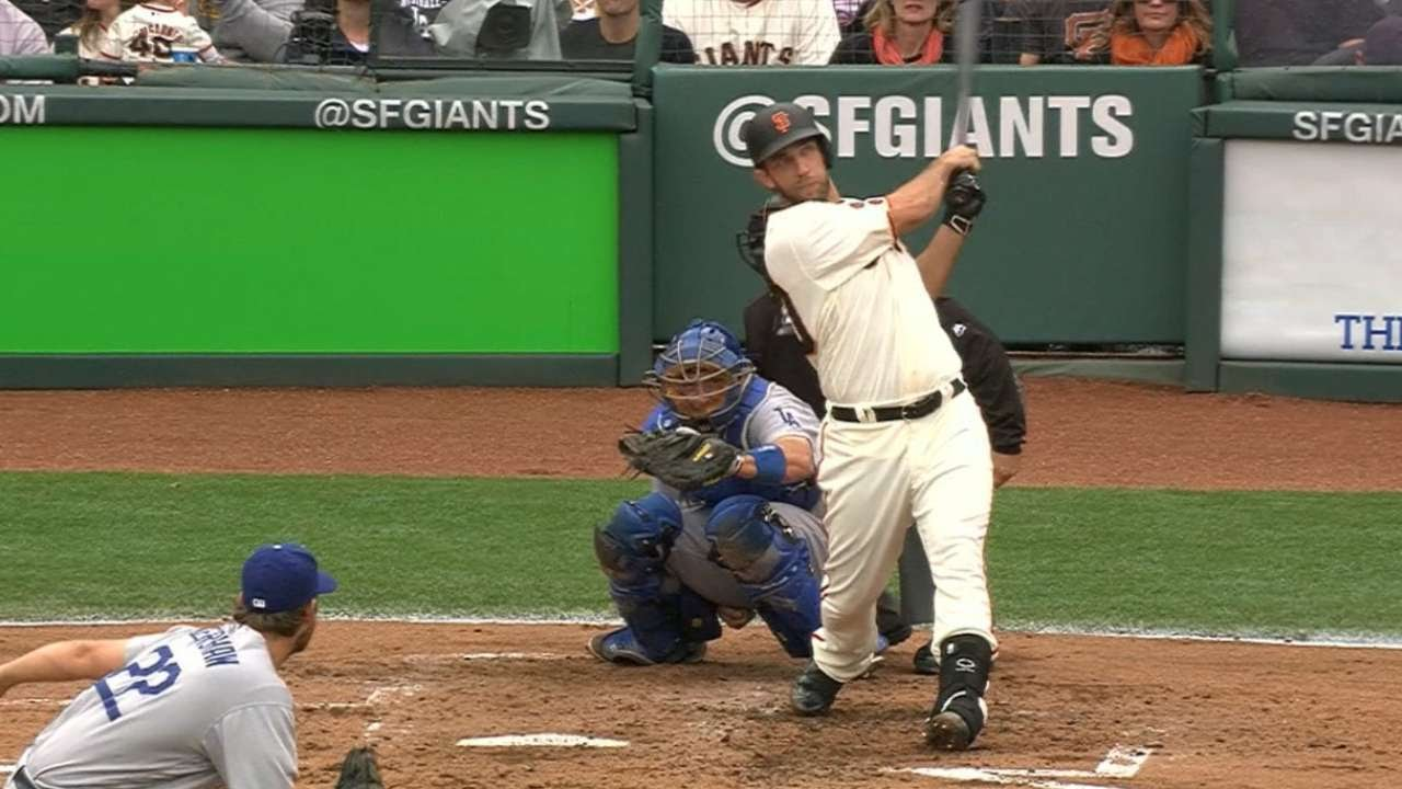 Madison Bumgarner launchers another home run off of Clayton Kershaw